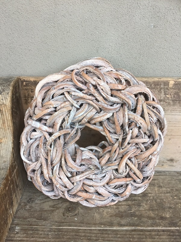 Witte Krans krul Coco cut wreath 35 cm  naturel with wash