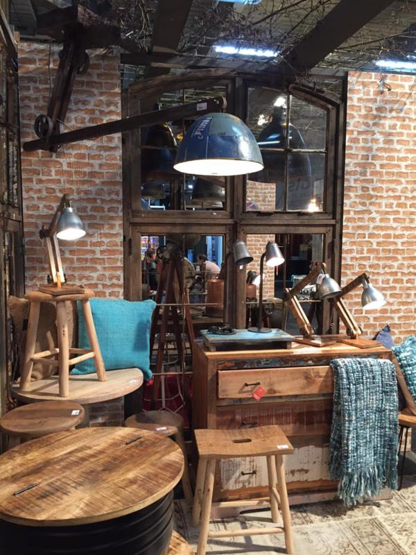 Industriele landelijke hanglamp plafond lamp hout metaal zink grijs bruin industrieel landelijk stoer vintage