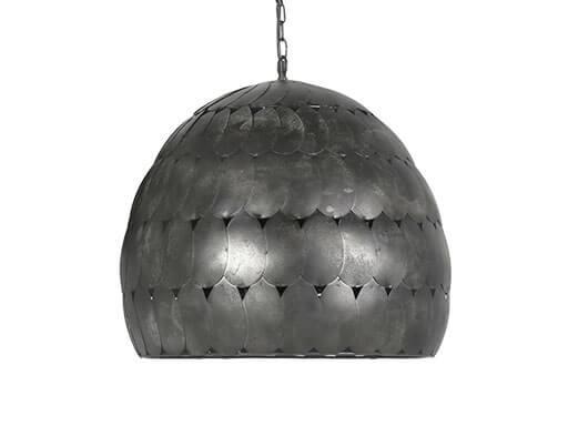 Stoere metalen hanglamp lamp plafondlamp 52 cm landelijk vintage retro korflamp  industrieel zwart grijs