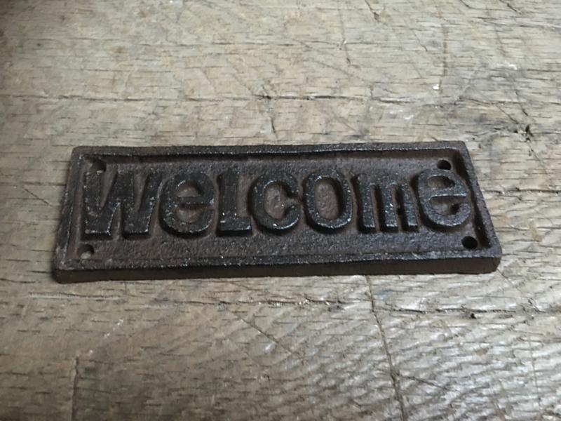 """Gietijzeren plaatje deur bordje welkomstbordje naambordje welkom  """"welcome"""" naamplaatje deurplaatje"""