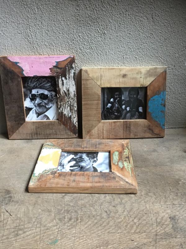 Stoer sloophouten lijst lijstje fotolijstjes Fotolijstje oud hout kleur landelijk vintage industrieel oude houten fotolijst A6