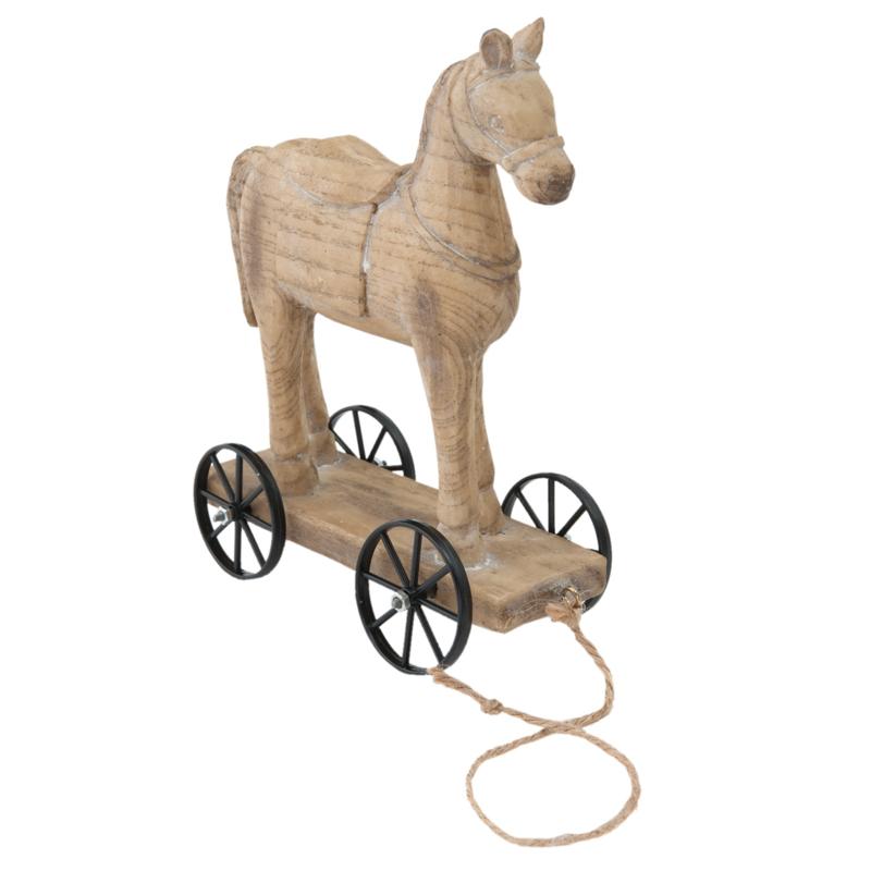 Houten paardje landelijk paard stoer Brocant hout vergrijsd naturel op wieltjes