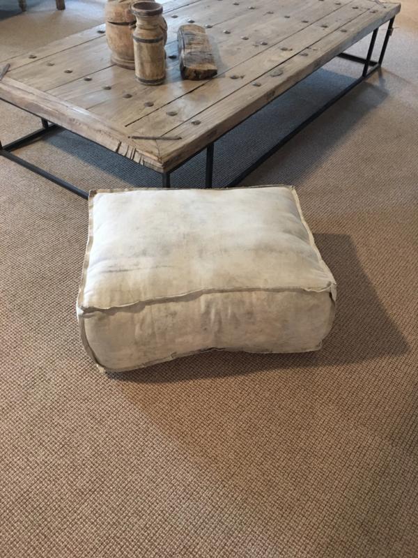 Canvas poef kussen lounge hondenkussen creme 67 X 50 X H25 cm