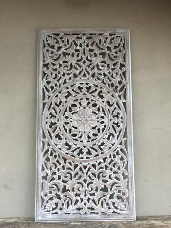 Prachtig groot Wandpaneel wandornament landelijk shabby licht grijs 120 x 60 cm