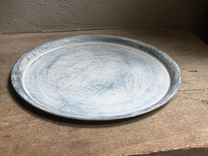 Grijs zinken dienblad schaal onderbord landelijk Brocant landelijk grijs industrieel 40 cm