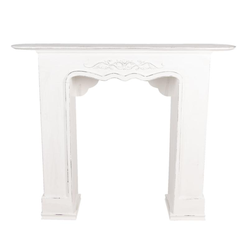 Mooie wit witte whitewash houten schouw voorzetschouw open haard kachel hout 125 x 28 x 101 cm landelijk