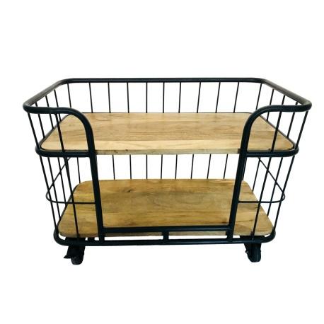 Kleine industriële kast trolley kar schap bakkersrek bakkerskar rek metaal zwart houten planken