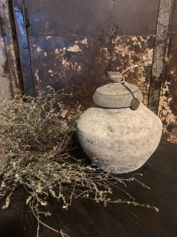 Grijze stenen Kruik met deksel pot vaas landelijk stoer sober