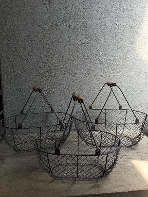 Set van 3 draadmanden manden Draadmand draadmandjes landelijk brocant