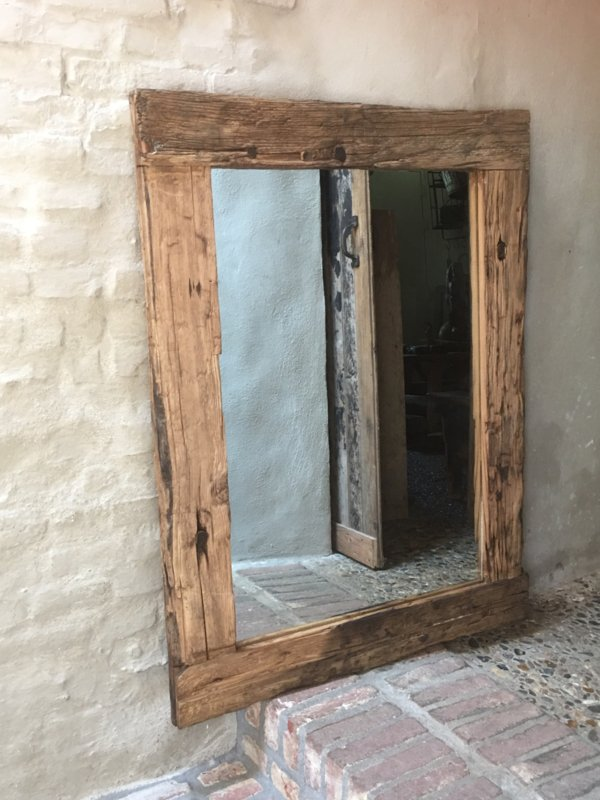 Stoere grove robuust houten teakhouten spiegel tuinspiegel landelijk truckwood railway stoer oud hout 120 x 80 cm