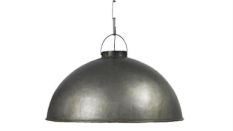 Stoere grote zinken metalen hanglamp rond 48 cm industrieel landelijk stoer vintage