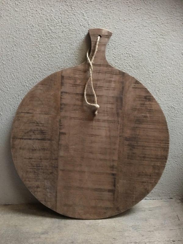 Grote ronde houten broodplank snijplank kaasplank landelijke stijl rond