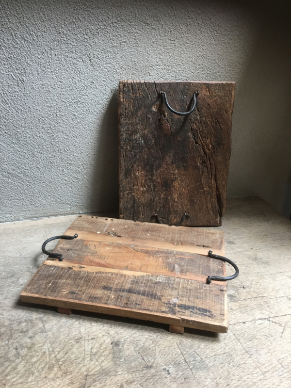 Oud houten dienblad L tray railway old wooden sloophouten wagondelen hout met hengsels landelijk