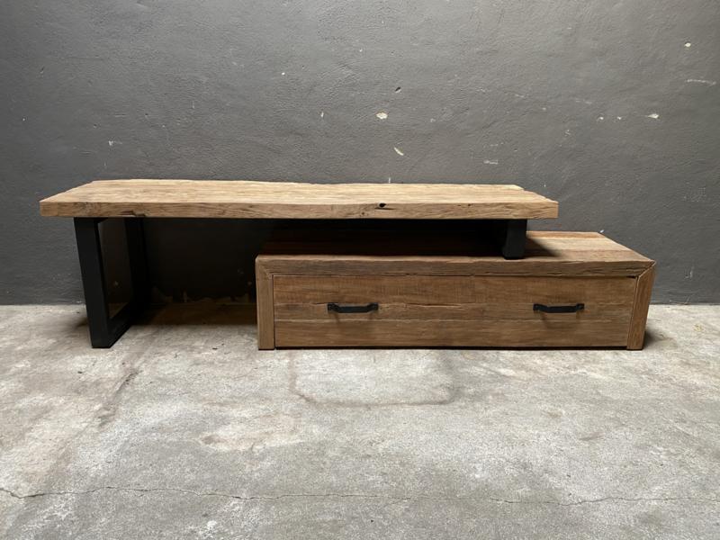 Stoer railway houten tv meubel televisie dressoir grof ruw hout audiomeubel sidetable televisiekast kast wandmeubel landelijk industrieel