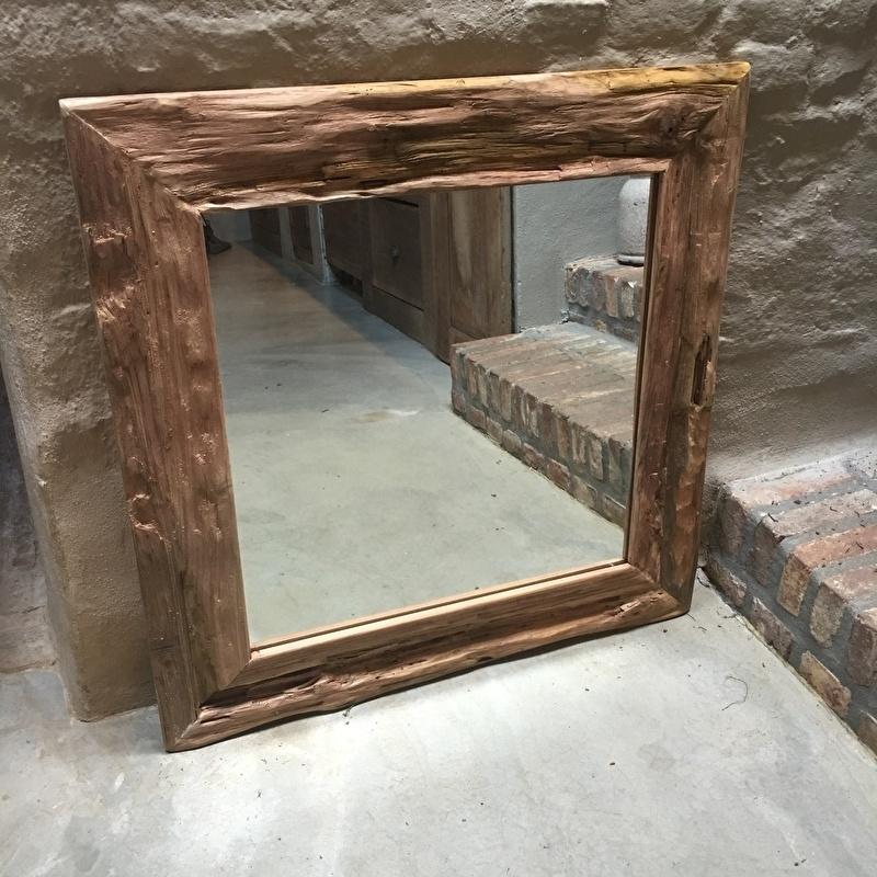 Grof oud teakhouten spiegel robuust 80 X 80 cm landelijk robuust teakhout hout houten