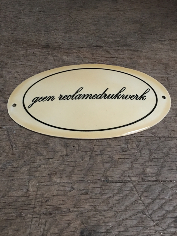 Gietijzeren plaatje emaille deur geen reclamedrukwerk bordje deurbordje naambordje landelijk nostalgisch  industrieel grootmoederstijd brocant