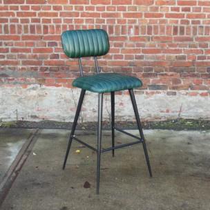 Vintage industriele barkruk met leren groene zitting industrieel kruk barstoel