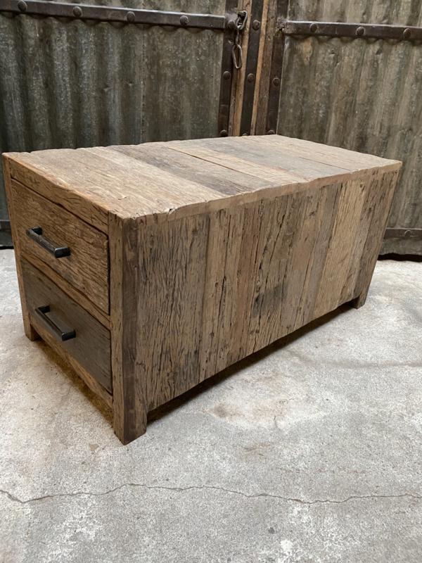Bijzettafel ladekast Railway grof hout Salontafel bijzettafel landelijk vergrijsd stoer hout