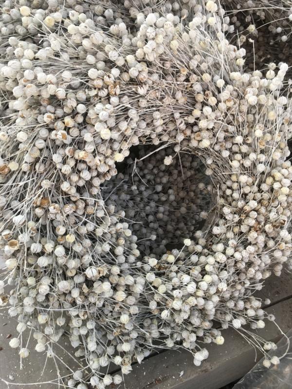 Prachtige volle vlaskrans 30 cm landelijk brocant wit witte natuurlijke naturel nature