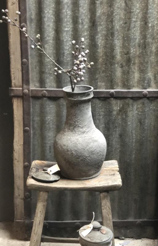 Grijs Stenen pot vaas urn karaf kruik met deksel landelijk stoer