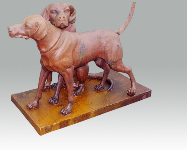 Groot gietijzeren beeld honden hond jachthonden wild jacht jagen 2 honden tuinbeeld