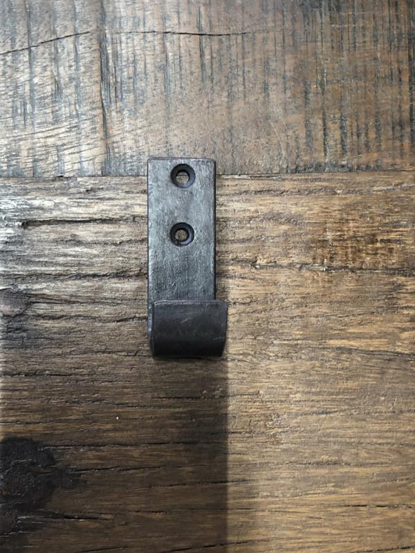 Klein smeedijzeren haakje haak wandhaakje wandhaak kapstokhaakje kapstokhaak bruinzwart metaal metalen