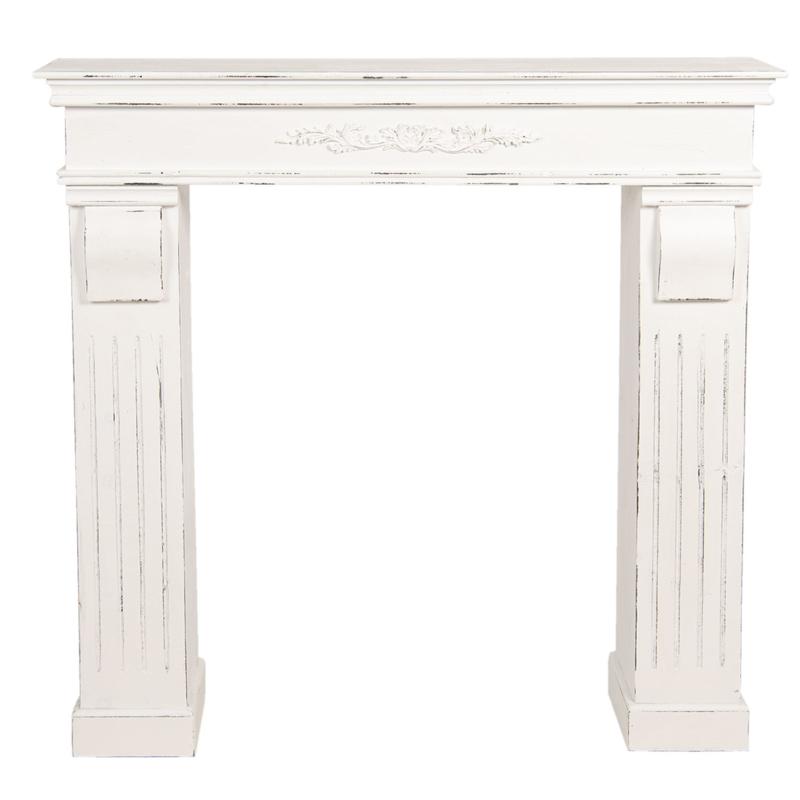 Mooie wit whitewash doorgeschuurd houten schouw voorzetschouw open haard kachel hout 100 x 22 x 99 cm landelijk