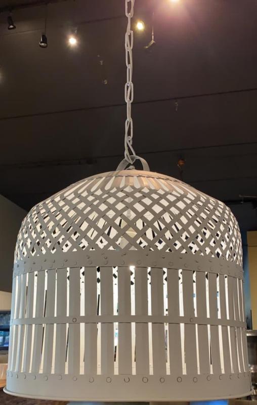 Grote smeedijzeren korflamp korf lampekap hanglamp lampenkap inclusief nieuwe bedrading vintage beige gebroken wit retro urban mand landelijk industrieel