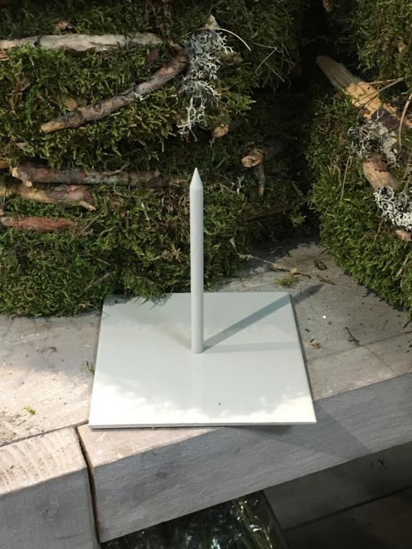 Losse metalen pin standaard grijs beige 12 x 12 x 12 cm