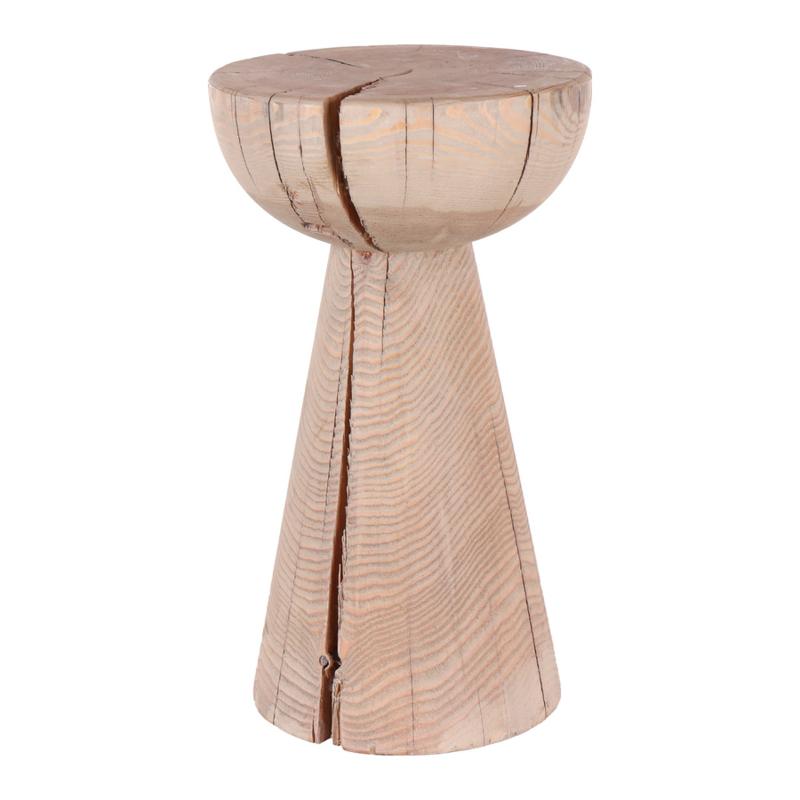 Stoere houten kruk rond met metalen krammen details landelijk stoer vintage Ibiza