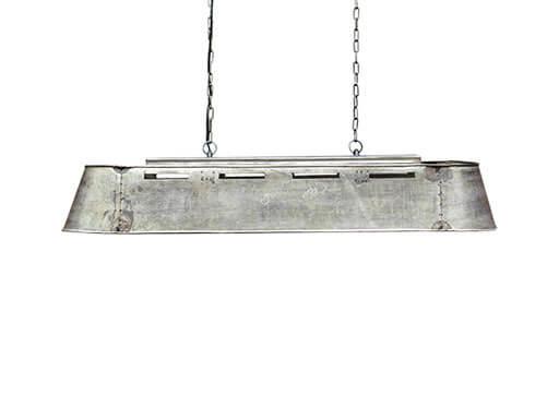 Industrieel metalen hanglamp bak metaal grijs landelijk stoer vintage  105 cm