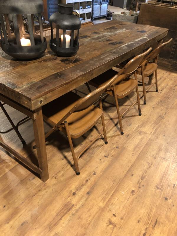 Vintage oude metalen klapstoel klapstoeltje vintage klapstoeltjes bistro klapstoelen industrieel landelijk cognacbruin