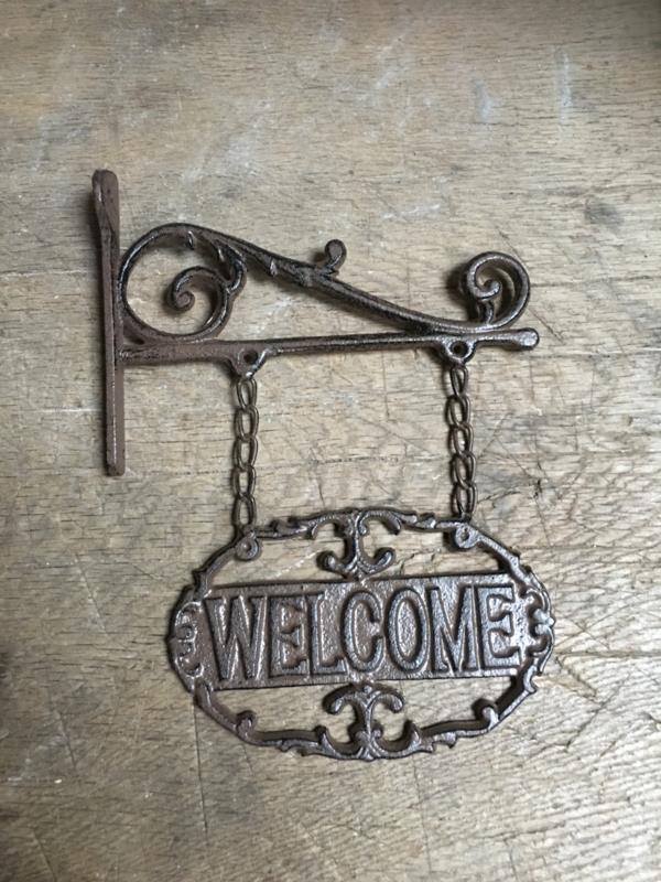 """Gietijzeren muurhanger uithangbord uithangborden landelijk brocant bruin plaatje deur bordje welkomstbordje naambordje welkom  """"welcome"""" naamplaatje deurplaatje"""