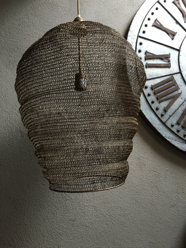 Hanglamp gaas draadijzer brons 55 x 48 cm landelijk stoer vintage urban gaaslamp korflamp