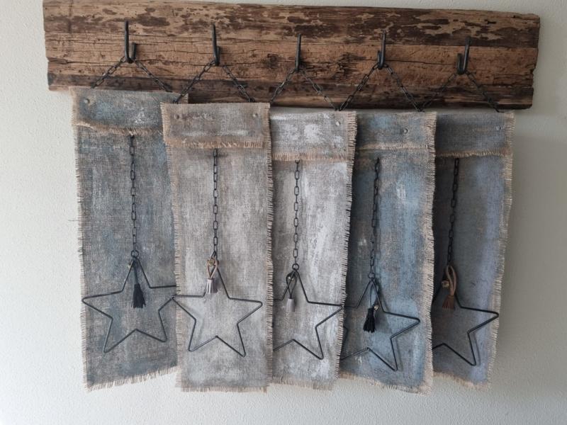 Kalkdoek decoratie hanger kerst landelijk stoer ster