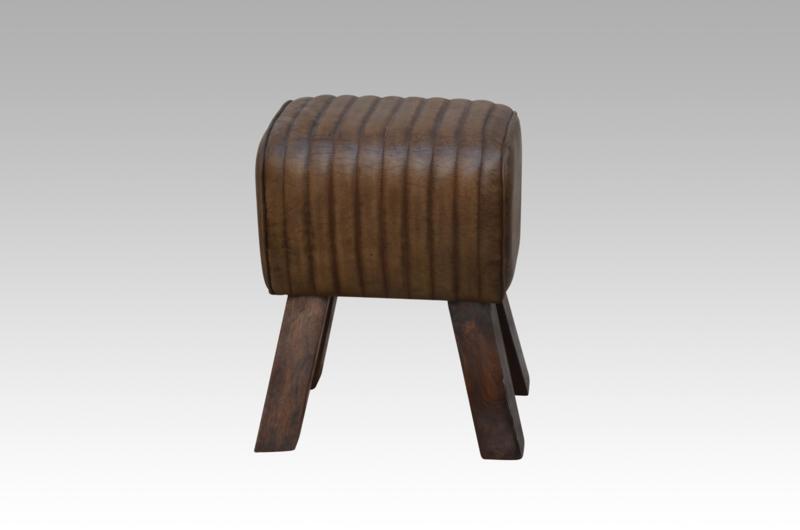 Vintage kruk met leren zitting gym bok landelijk industrieel leer hout 42 cm