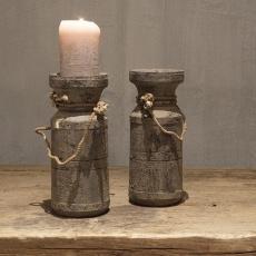 Vergrijsd houten kandelaar Nepal pot met touw grijs hout landelijk stoer medium 23 x 10 x 10 cm