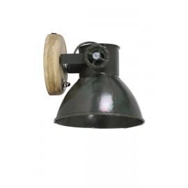 Industriële metalen spotje hanglamp wandlamp 1 khaki legergroen legergroene Army kap spot spot plafondlamp plafoniere metaal verstelbaar landelijk stoer vintage