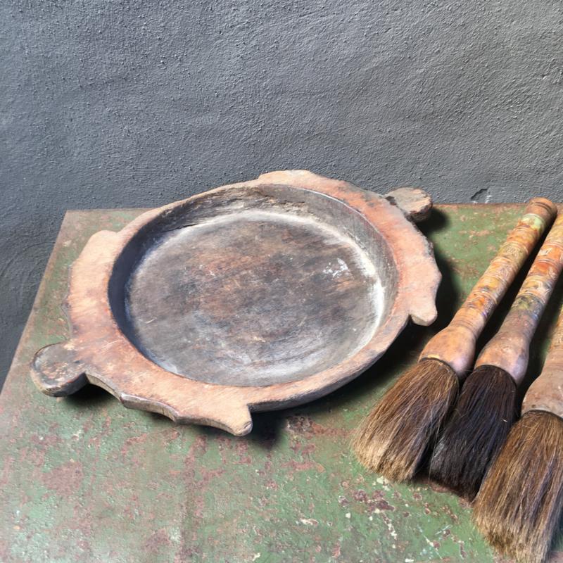 Oude houten schaal bak kom plateau Ooster stoer landelijk boeren hout oud houten