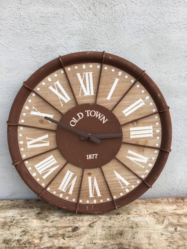 Metalen industriële klok wandklok doorsnede 46 cm roestbruin hout metaal stationsklok bruin landelijk industrieel vintage
