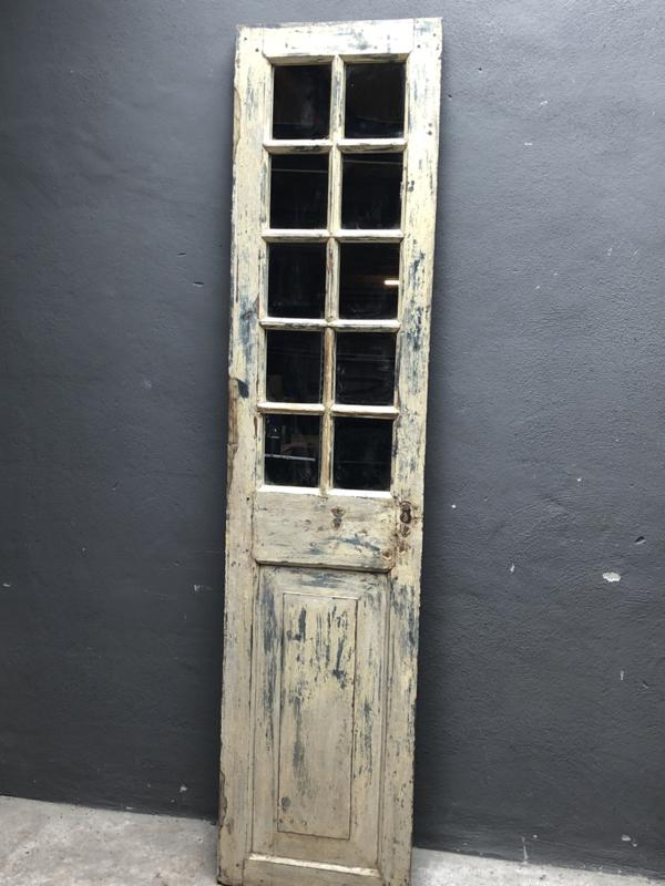 Oud kozijn met spiegel venster stalraam 201 x 46,5 cm stalraamspiegel landelijk industrieel vintage