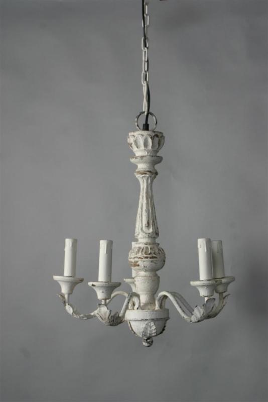 Landelijke houten kroonluchter hanglamp smoken Smokey landelijk stoer wit witte white whitewash