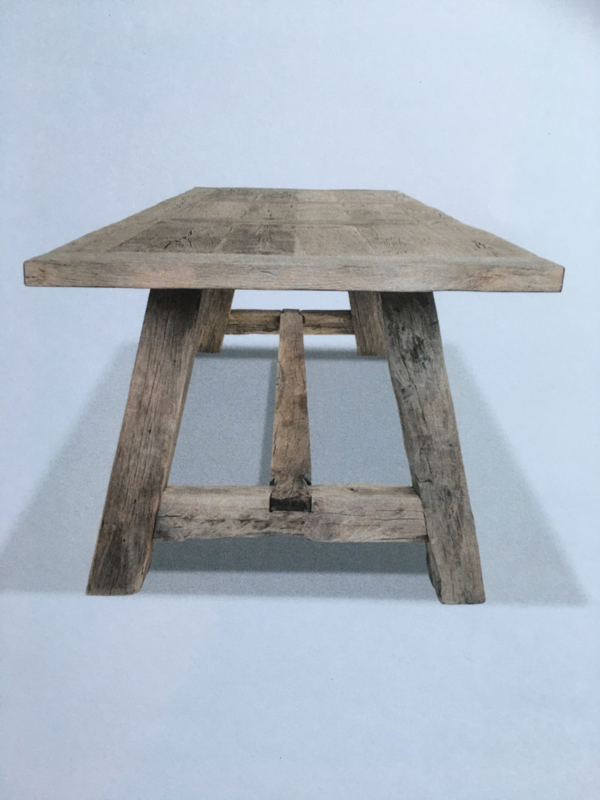 Massieve vergrijsd eiken tafel boerentafel 220 x 100 x H77 cm kloostertafel landelijk robuust stoer eettafel