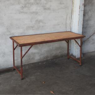 Stoere landelijke houten metalen Sidetable bureau buro klaptafel 183 x 75 cm  tuintafel markttafel industrieel landelijk klaptafel
