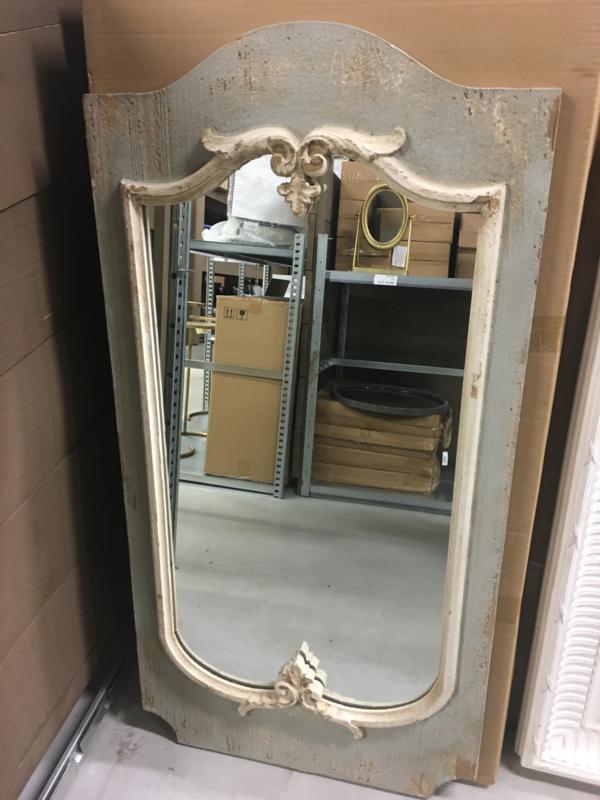 Prachtige grote houten spiegel 110 x 56 cm beige grijs landelijk houten sierlijst