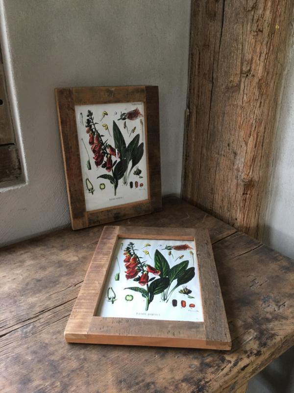 Oud doorleefd vergrijsd houten Fotolijst fotolijstje sloophout A6 lijstje landelijk vintage doorleefd hout