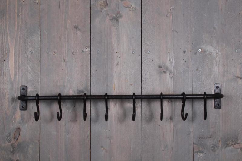 Massief smeedijzeren wandrek wandkapstok haakjes stang roede met haakjes wandhaken keukenrekje landelijk industrieel 75 cm