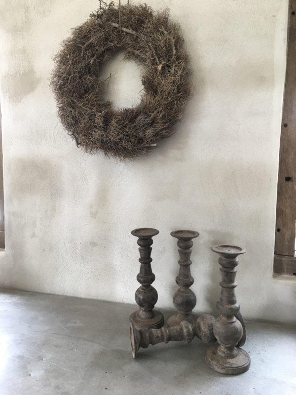 Houten kandelaar bol stompkandelaar S stompkaars grey landelijk stoer vergrijsd hout old