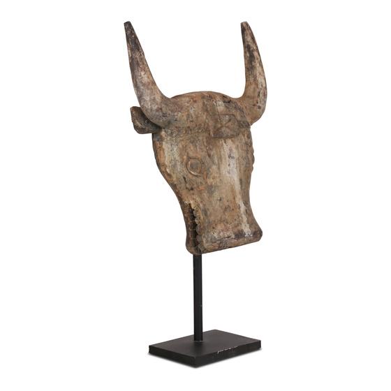 Houten buffel koe schedel op pin vergrijsd grijs beige stoer landelijk ornament op standaard