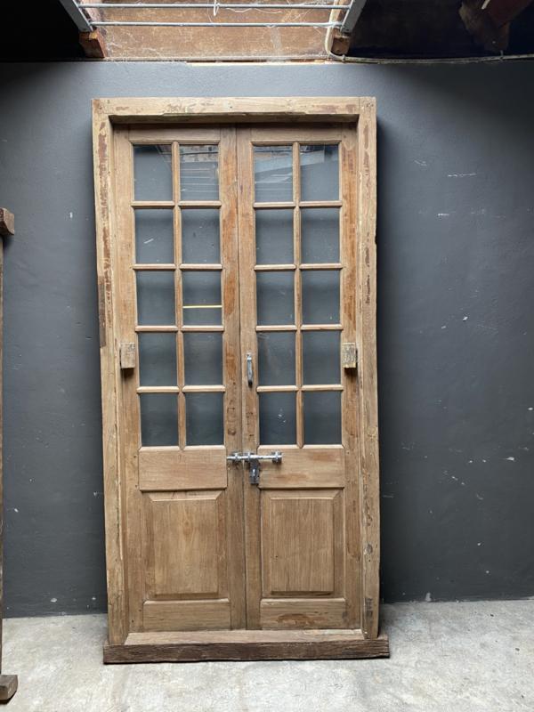 Prachtige oude dubbele deuren in kozijn glas 120cm breed 245cm hoog dikte kozijn 12cm
